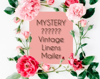 Vintage Linens Mystery Box Mailer/ Tea Towels/ Doilies/ Table Runners/ Embroidered Pillow Cases/ Handkerchiefs/ Dresser Scarves/ Tablecloths
