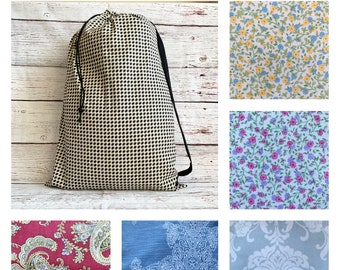 Large Laundry tote/reusable drawstring bag/storage bag/fabric gift bag for shower or wedding/upholstery fabrics/sustainable gift