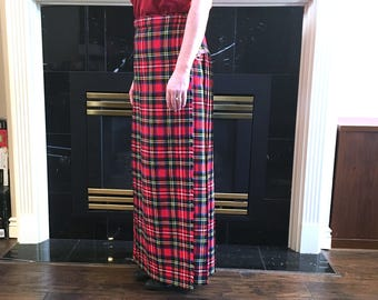 Kilt Style Skirt, Pleated Skirt, Stewart Plaid, Kilt Wrap Skirt, Wool & Acrylic, English Sports Shop Bermuda, Made in England, Size 28