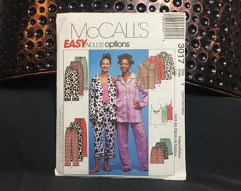 Ladies pajama pattern for Christmas pajamas or more includes camisole, McCall's 3017 Size Y XSM - Med, UNCUT