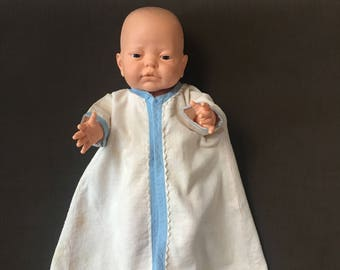 Vintage flannel baby doll robe from the 1950's handmade in white with blue trim for your baby doll or reborn doll, 14.5 inches long