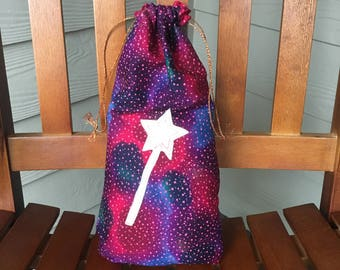 Fabric drawstring gift bag for Christmas, birthday gift or magic wand fairy costume, Halloween trick or treating bag, 8 x 15