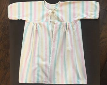 Striped flannel vintage baby robe from the 1950's with ties for a baby photo costume or vintage baby clothing lover or nursery decor