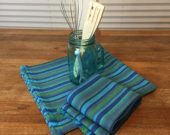 Wide farmhouse table runner & side board set, blue stripe cotton twill, 27.5 x 58, gift for Mom, fringed, vintage fabric, zero waste gift