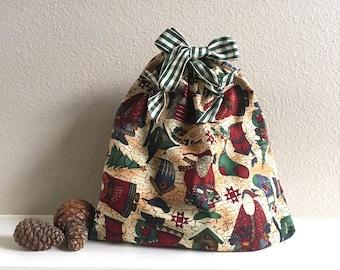 Christmas fabric drawstring gift bag in a vintage Santa print with a gingham ribbon, 11.5 x 11 reusable gift wrap sack