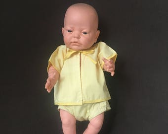 Vintage baby doll clothes, newborn doll layette outfit from the 1950's with tie front shirt and snap up diaper cover for Reborn or baby doll