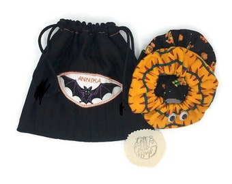 Halloween hair scrunchies gift set, 2 scrunchies and a personalized drawstring cosmetic bag 8 x 8, gift for daughter, BFF, gift from Grandma