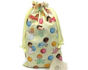 Large fabric gift bag, cute babies with balloons print, baby shower gift, 1st birthday, reusable as toy bag, 9.5 x 16, can be personalized