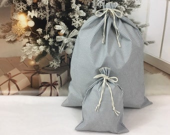Christmas farmhouse style decor gray striped fabric gift bags in 2 sizes, reusable gift wrap, rustic style cloth bags for presents or decor