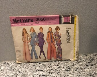 Misses caftan or tunic and pants vintage pattern from 1971 McCalls 3050 size petite 6 Bust 30 1 /2 mod style long caftan wide leg pants