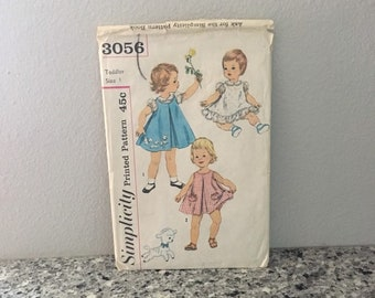 Toddler dress pattern blouse slip dress or jumper and panties unused lamb transfers vintage 1960's Simplicity 3056 Size 1 chest 19 waist 19
