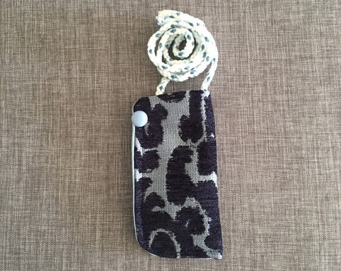 Featured listing image: Hanging eyeglass case for reading glasses, gift for retirement, Mom, Grandma, teacher, eyeglass necklace, upholstery fabric zero waste gift