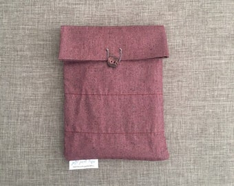 Purple I-Pad or tablet sleeve, book cover, or travel pouch purple pocket bag, upcycled fabric,  zero waste gift l, front button and loop
