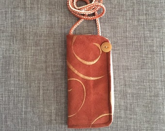 Eyeglass case, hanging eyeglass lanyard for reading glasses, Christmas gift for teacher, Mom, Grandma, upholstery fabric
