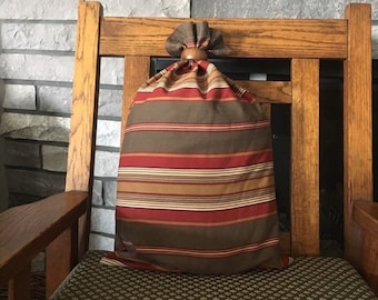 Southwest style large striped fabric gift bag with wood ring, upcycled fabric zero waste gift size 12.5 x 20 gift for father, retirement