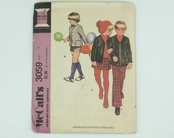 Toddlers boy and girl pattern makes jacket, shorts and pants, vintage McCalls 3059 Size 3 from 1971, kids separates, 70's styles, school
