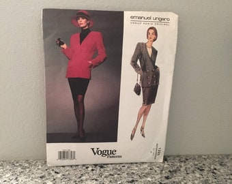 Vogue Paris Original Pattern 1223 vintage uncut Emanuel Ungaro design ladies suit 1993 Semi-fitted double breasted jacket with tapered skirt