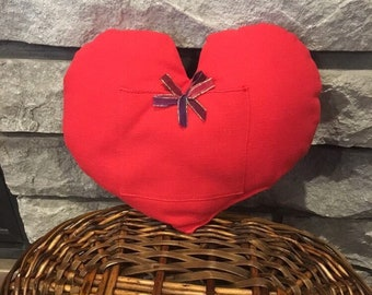 Valentines fabric heart pillow gift bag for jewelry or a gift card, suprise gift, 9.5 x 8, engagement ring or wedding ring pillow
