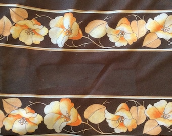 Georgette Sheer Fabric - 1970's Fabric - Vintage Fabric - 60 wide - 3 yards - Semi Sheer Fabric - Brown Fabric - Floral Fabric - Polyester