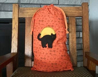 Halloween bag with black cat & moon appliqué for trick or treating, decoration or a special present, large 10.5 x 20 orange drawstring bag