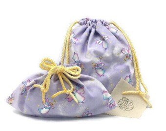 Guardian angel flannel fabric gift bags with double drawstring cord, 10 x 11 or 10 x 6, lavender, baby shower, birthday or pajama bag set