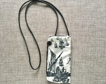 Eyeglass necklace case for reading glasses, hanging glasses case, toile fabric, gift for mom or teacher eyeglass chain upholstery remnants
