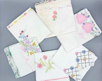 Embroidered vintage pillowcase singles/ crochet lace edges/choose design/standard sizes