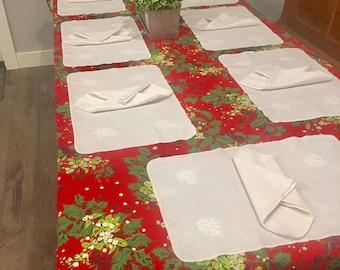 White linen napkin & placemat set, 8 of each, vintage linen mats 12 x 18.5 large square napkins 17 x 17 farmhouse neutral decor