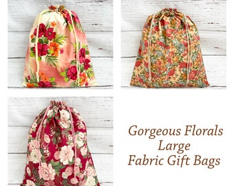 Gorgeous Florals/ Large Drawstring Fabric Gift Bags/ Mother's Day Gift/ Wedding or Bridal Gift/ Reusable Sustainable Gift Bags