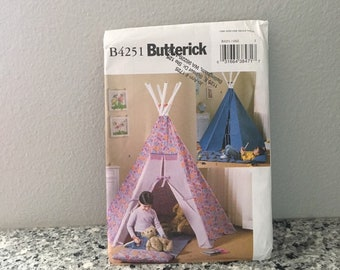 Teepee mat and pillow for kids playhouse pattern, gift for grandkids, Butterick B4251 makes 80 x 72 tent, pvc pipe poles, preschool tent