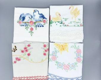 Embroidered vintage pillowcase singles, birds & butterflies crochet lace edges, choose design, most standard sizes