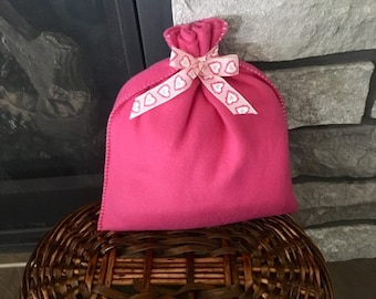 Fleece fabric gift bag for baby girl or Valentines gift idea for her, hot pink bag with heart ribbon, cloth bag, reusable gift wrap 9 x 9.5