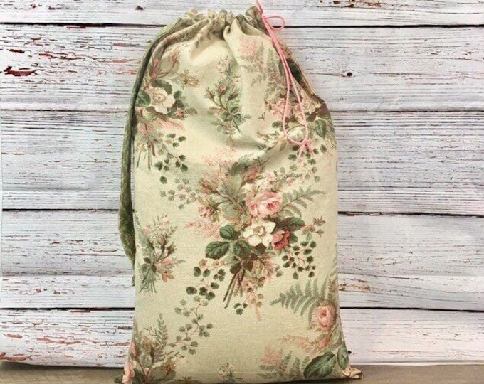 Featured listing image: Floral laundry tote, bridal shower fabric gift bag, reusable gift bag, wedding gift, rustic rose print canvas, Mothers Day, sustainable gift