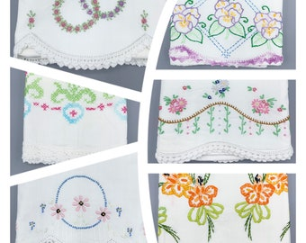 Vintage embroidered pillowcase singles with crocheted lace edges, choose design, vintage linens, most standard sizes