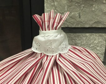 Sustainable Red stripe fabic gift bag farmhouse style for special presents, large 15 x 18 cloth bag with lace collar, beautiful reusable bag