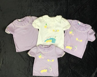 Vintage baby girl shirts, OshKosh brand knit lilac or white, buttons at back neck, 1990s old store stock, flowers sizes 12 - 18 months