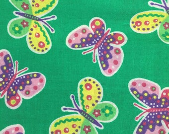 Butterfly Print Fabric, Summer Fabric, Green, Cotton Fabric, Quilt Fabric, Remnant, 1 + Yard, 42 Wide, Signature Classics, Butterfly Paisley