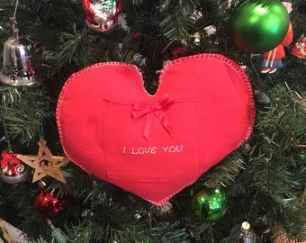 Christmas tree gift bag ornament or Valentines fabric heart pillow for jewelry or gift card for wife, husband, girlfriend or boyfriend