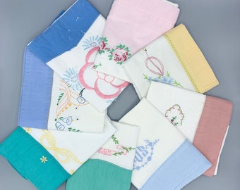 Vintage pillowcase singles/ Lot of 8/ hand embroidered designs/ pillow slips/ standard sizes/ use cut or craft