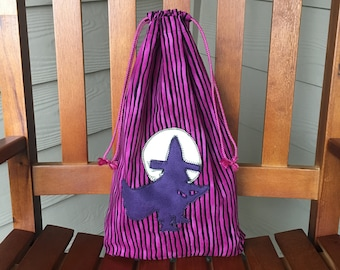 Halloween trick-or-treat bag for candy with drawstring for Kids or Halloween decor, cloth bag with witch and moon applique, zero waste gift