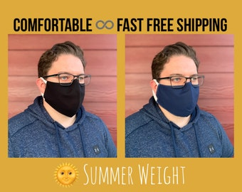 Summer weight Black or Navy cotton face mask for work, 3 layers w/ filter pocket, soft ear loops, hands off mask, washable, sizes P S M L XL