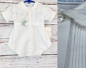 Pleated vintage baby boy Christening outfit, size large, Feltman Bros old store stock 1980s, baby photo shoot, baptism, Easter, reborn doll