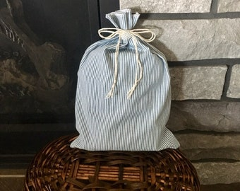 Farmhouse style blue stripe cotton ticking fabric gift bag for Christmas or other occasions, cottage style decor, reusable gift wrap, 8 x 12