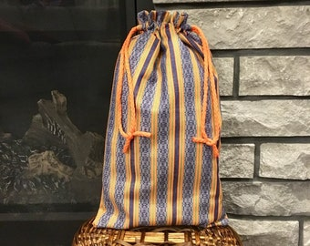 Texured striped orange and blue denim fabric gift bag with drawstring for Christmas, birthday or other occasions, 10 x 17 reusable gift wrap