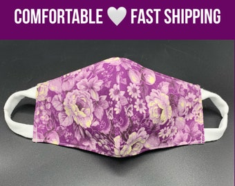Purple floral cotton face mask, gift for mom, 3 layers w/ filter pocket, soft ear loops, face cover, washable, reusable, sizes S M L XL