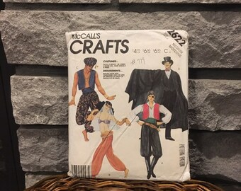 Costume pattern McCall's 2622 size adult medium makes pirate, genie, harem girl, & Count Dracula, party or Halloween costumes, 1986 uncut