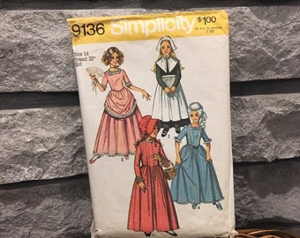 Girls dresses costume pattern for theatrical,Halloween, makes Puritan, Centennial, Colonial, Pioneer, size 14 Simplicity 9136 vintage 1970