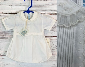 Blessing outfit for baby boy newborn size, vintage Feltman Bros old store stock 1980's, baby photo shoot, Christening, Easter, reborn dolls