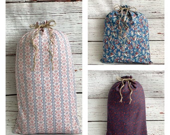 Sustainable Drawstring fabric gift bags/ Mother's Day gift/ Farmhouse rustic/vintage fabric designs/ Large Reusable Gift Bags