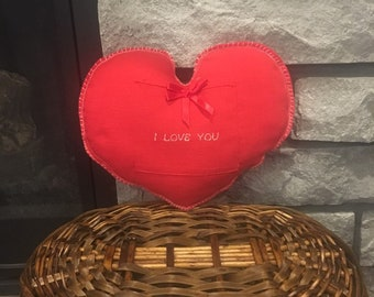 "Fabric gift bag Valentines heart pillow for jewelry or gift card for wife, husband, girlfriend or boyfriend, ""I Love You"" saying, engagement"